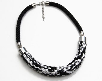 Black and white knotted rope statement necklace