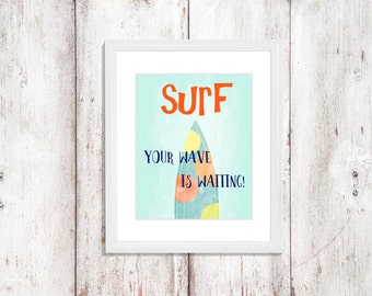 Surfboard nursery etsy for Surf nursery ideas