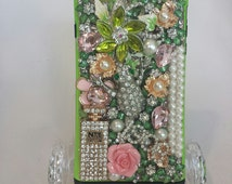 Pink and Green Custom Made I Phone 6 Plus case cover..