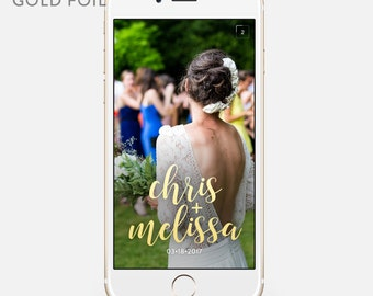 Metallic Wedding Snapchat Geofilter Personalized Custom On-Demand Geo filter Gold Silver Rose Sparkly Name