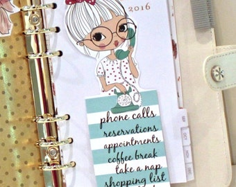 """Planner Girl Bookmarks,  """"Page Peepers"""", ESTER On PHONE LIST Bookmark, Paper Bookmark, Page Markers, Journal Bookmark, Cute Bookmark, Agenda"""
