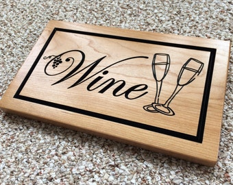 Wood Wine Sign Wooden Bar Sign Carved Wood Sign for Wedding Wine Cellar Decor Man Cave Bar Basement Decor Home Cabin Signage Pub Sign Cherry