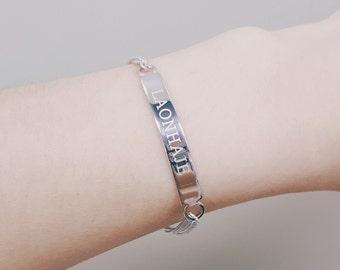 Message bracelet,personalized Customized bracelet,Word bracelet,Rhodium plated,Chain bracelet,gift,couple bracelet,safty nickel