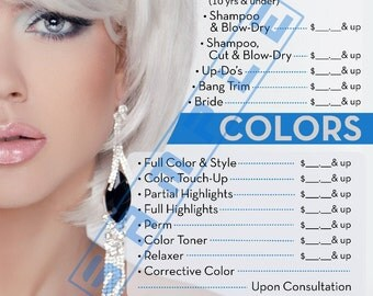 "Salon Poster | Beauty Salon Poster | Salon Price LIst | 36"" x 24"" Laminated 