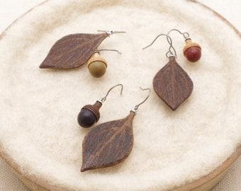 Wooden Acorn & Leaf  Earring  (PLA)