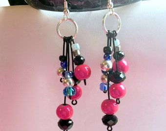 Lucious Pink, Blue, Black, and Silver, Multi-Strand Dangle Earrings.