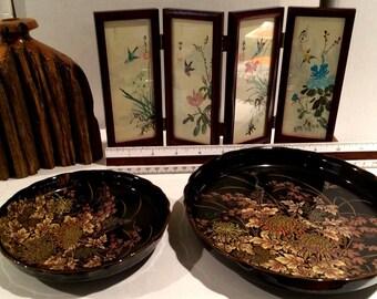 Japanese Plates, Folding Mini-Mural & Wood Vase