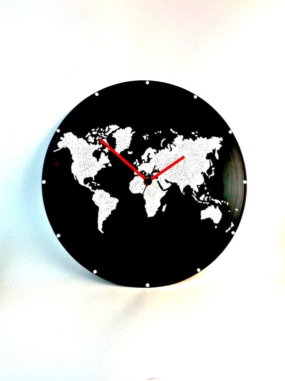 Buy World Map Clock. Like this item  World map Wall clock Vinyl Globe