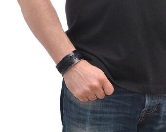 Mens Leather Bracelet / Black Leather Bracelet For Men, Leather Cuff Bracelet / Leather Band Bracelet, Mens Bracelet, Leather Wristband