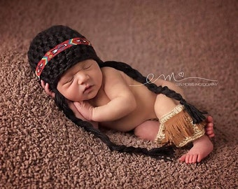Crocheted Baby Indian Outfit, Indian Leg Warmers, Newborn Pocohantas Outfit