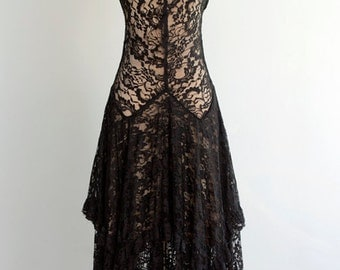 Vintage 1920's Black Lace Dress S