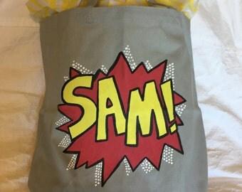 Personalized Handpainted Superhero Tote Bag