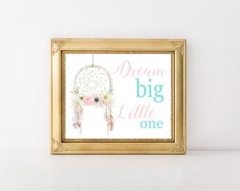 Dreamcatcher Print | Dream Big Little One | Nursery Print | Wall Print | Tribal | Tribal Wall Prints | Prints | 8x10 or 11x14