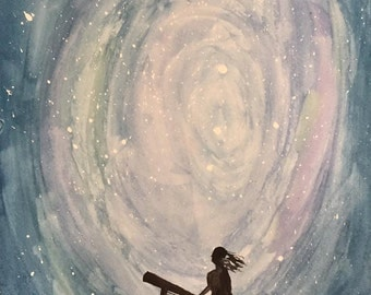 Limitless Exploration Watercolor - Girl & her Telescope - Nursery Art