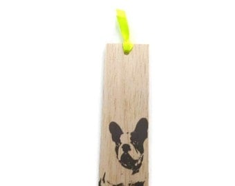 Wooden bookmark - Wood bookmark - French Bulldog bookmark - Unique bookmark - Handmade bookmark - Dog bookmark - Bulldog bookmark