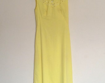 1960s Handmade Lemon Yellow Beaded Evening Dress Vintage