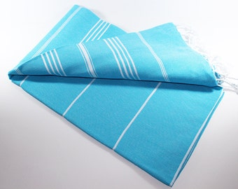 Classic | Turquoise Spa Towel | Peshtemal Towel | Beach Towel | Spa Towel | Turkish Bath Towel | Turkish Towel | Beach Blanket | Sarong