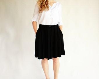 Black midi skirt with pockets, knee length skirt, black half circle skirt, elastic waist skirt, office casual skirt, skirts for women