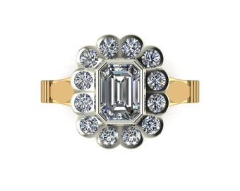 2.00ct Radiant Moissanite Vintage Engagement Ring in 9 Carat Yellow Gold