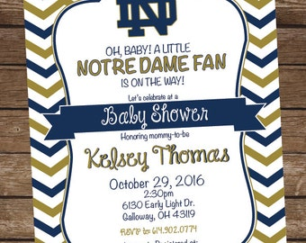 Notre Dame College Football Baby Shower Invitation - Birthday Party