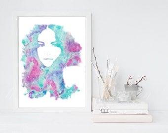 Selena Gomez Watercolor Printable Art -INSTANT DOWNLOAD