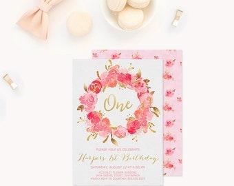 Floral 1st Birthday Invitation, Garden Party Invitation, Girls Pink and Gold Birthday Invitation, Flower Shabby Chic Birthday Invitation