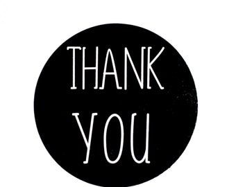 Thank You Stickers (Set of 36) - Round Black Thank You Stickers (3cm diameter)