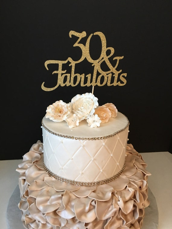 Any Number Gold Glitter 30th Birthday Cake Topper 30 And