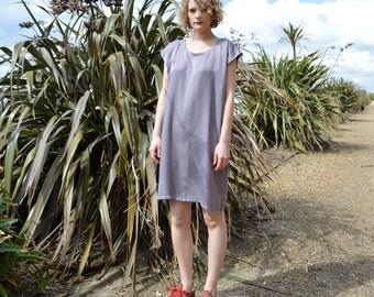 Handmade Oversized T-shirt Dress in Bamboo Silk, Minimal Style, Square Dress, Vegan, Eco