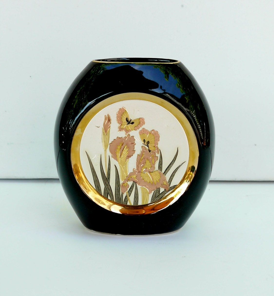 Japan The Art Of Chokin Small Black Porcelain Vase 24K Gold