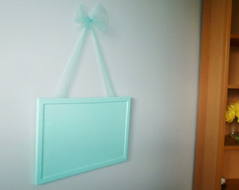 Turquoise Mint Bulletin Board. Tulle Bow.