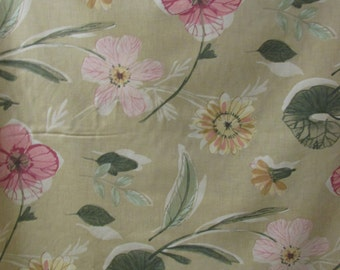 Green flroal drapery fabric