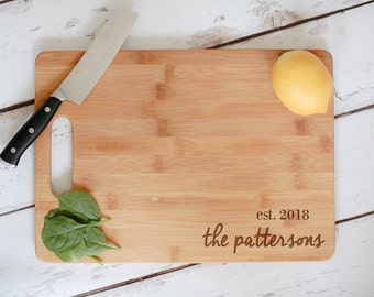 Custom Cutting Board, Engraved Bamboo Wedding Cutting Board, Engraved Anniversary Gift, Personalized Wedding Gift,Custom Wooden Chopping
