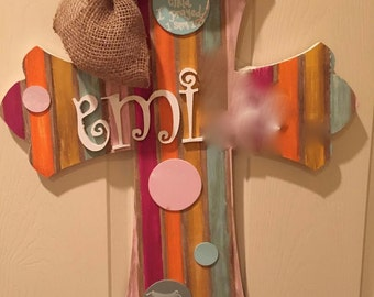 Painted Cross Hospital Door Hanger for Baby