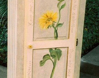 Sunflower jelly cabinet, hand painted furniture, hand painted cabinet
