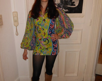 1960s Mini Dress Psychedelic Paisley Gogo Poet sleeve