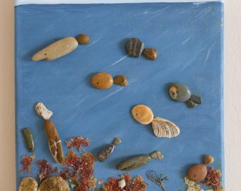 Seabed. Box of shells, stones, seaweed and sand, materials and natural colors, artistic composition, mixed Assembly, single piece