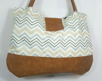 Tan Teal Blue Brown Faux Leather Tote Handbag, Large Handbag, Travel Handbag, Diaper Bag, Work Bag, Zip Zag Print, Large Purse, Gift Idea