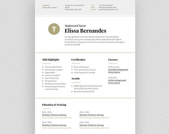 3 page NURSE Resume Template / CV Template + Cover Letter for MS Word and Photoshop | Instant Digital Download