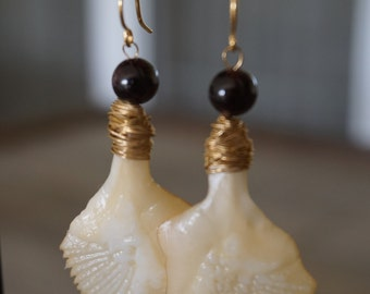 Wire-wrapped Garfish Scale Earrings with Black Garnet