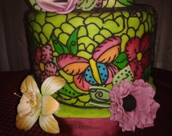 FAKE stained glass CAKES for all occasions and wedding