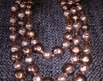 Vintage Necklace, 3 Strand Necklace, Costume jewelry, 1950s/60s