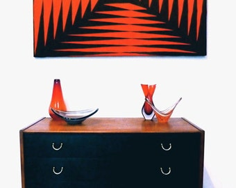 Ziminy One 1960s op-art textile wall canvas