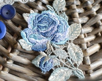 Blue embroidered rose I Embroidered patch I Blue rose patch I Millinery flower I Blue embroidery patch I Patch I Blue embroidered applique
