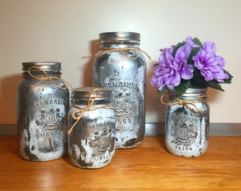 Silver white mason jar kitchen canister set, mason jar decor kitchen containers, jar organization, old farmhouse decor, rustic decor