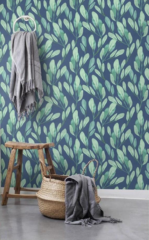 Watercolor Leaves Wallpaper Botanical Removable Wallpaper