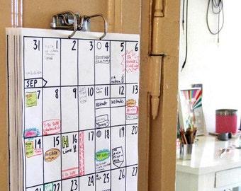 fridge calendar Sep 2016 - Feb 2018 (18 months)