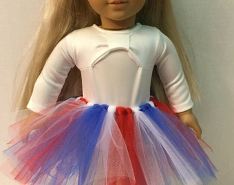 Tulle Tutu for American Girl 18 inch Doll - Clothes - Red, White, & Blue Skirt Americana