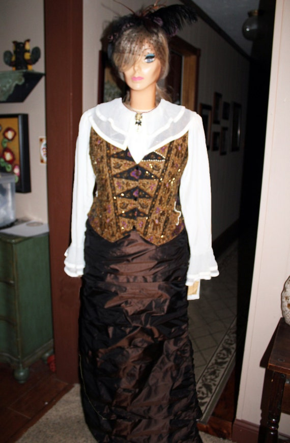 Old West Costume, Miss Kitty, Victoria Barkley, Annie Oakley, Western Outfit and Feather Hairclip, 4-piece Victorian Theater Costume