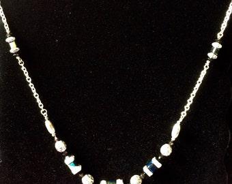 Handmade Black/Iridescent Swarovski Crystal Accented Chain Necklace